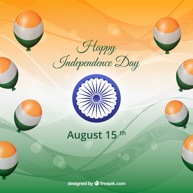 Happy inependence day of india with balloons