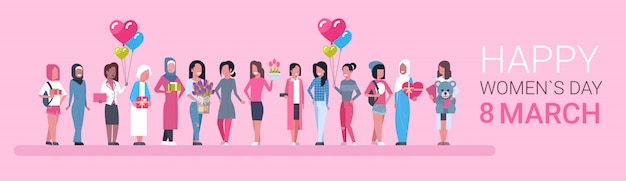 Happy intenational womens day. group of diverse girls Premium Vector