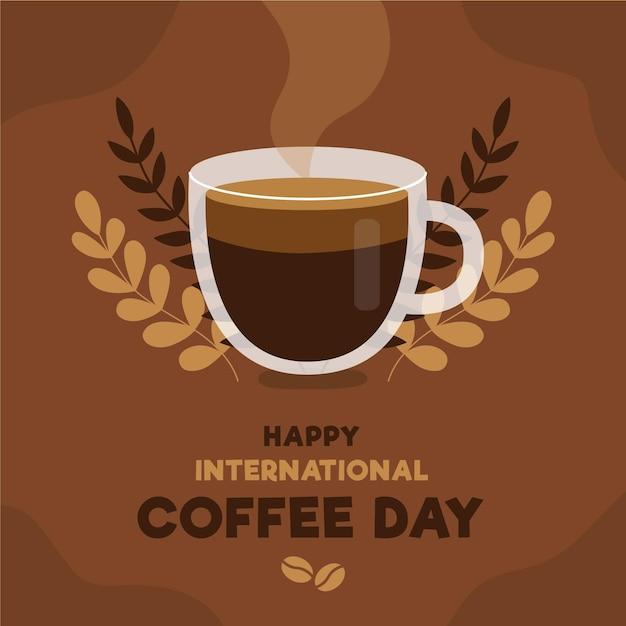 スチームとコーヒーの幸せな国際デー 無料ベクター
