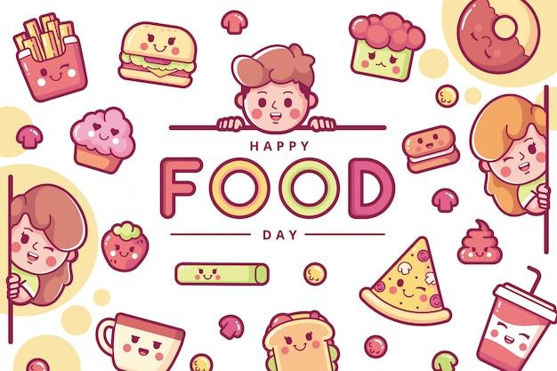 Happy international food day illustration background Premium Vector