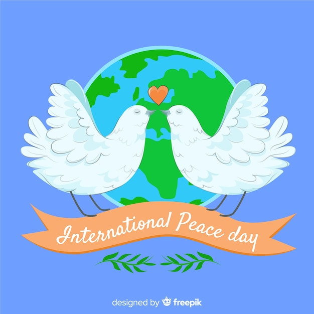 Happy international peace day background Free Vector