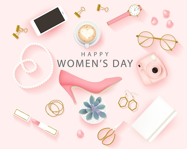 Happy international women's day background Premium Vector