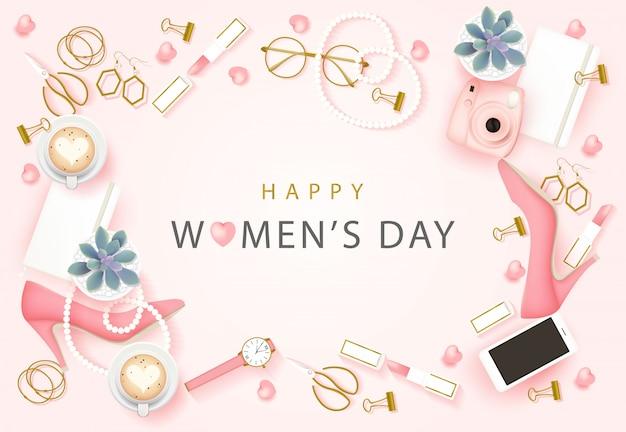 Happy international women's day background Premium Vector
