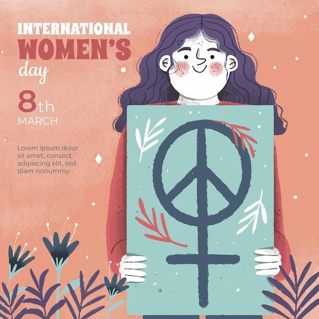Happy international women's day hand drawn Free Vector