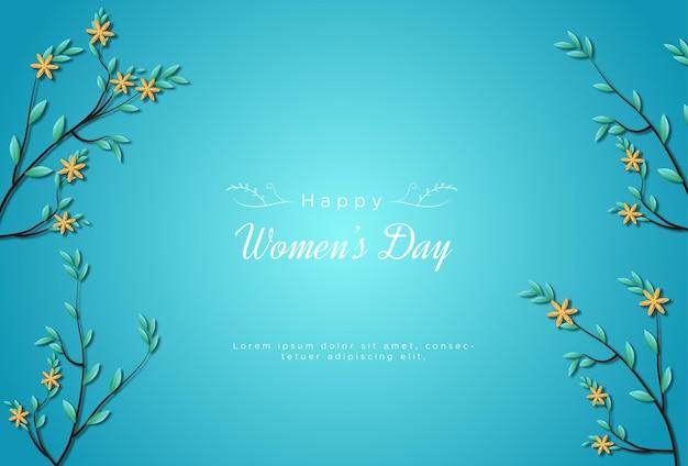 С международным женским днем с цветами Premium векторы