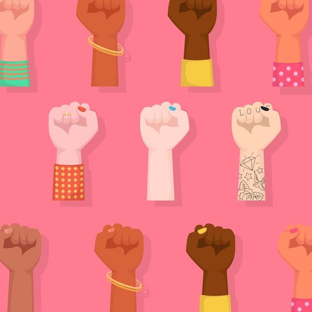 Happy international women's day. woman fists raised embracing women power. Premium Vector