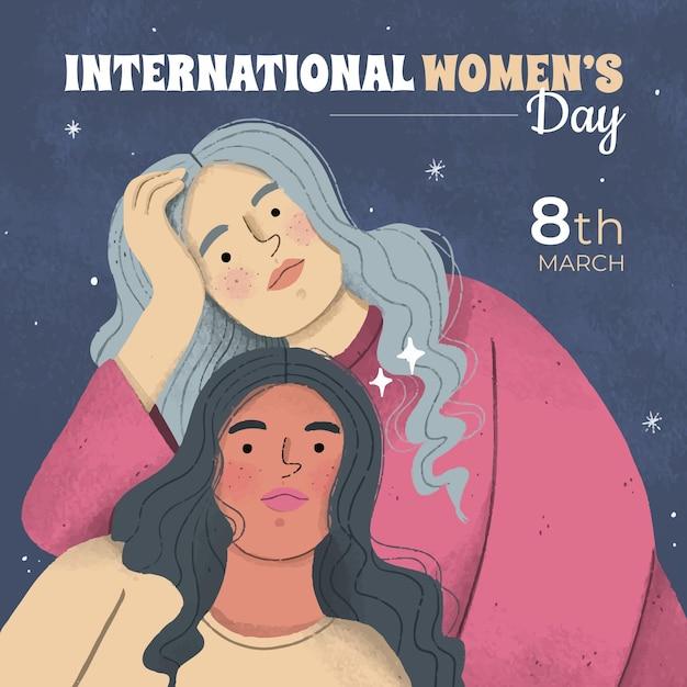 Happy international women's day Free Vector