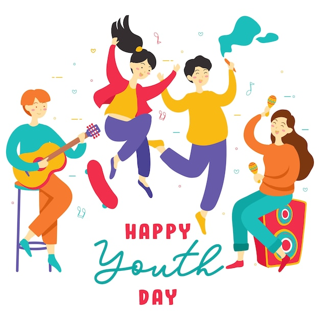 Happy international youth day. teen people group of diverse young girls and boys together holding hands, play music, skate board, party, friendship Premium Vector