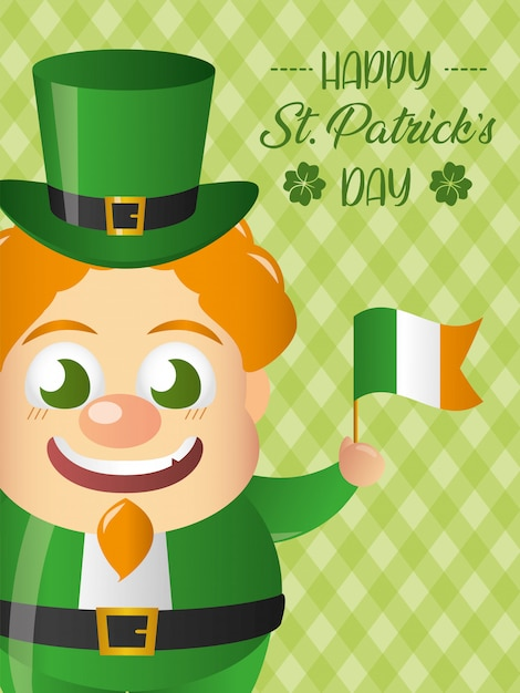 Happy irish leprechaun with a flag of ireland greeting card Free Vector