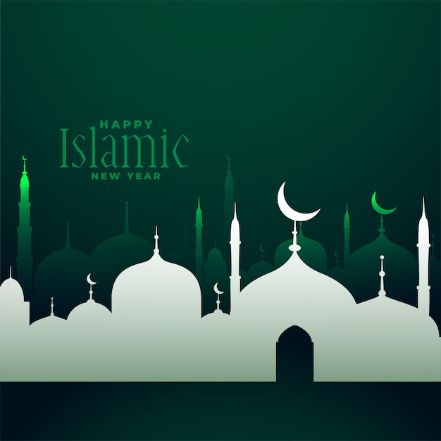 Happy islamic new year traditional festival Free Vector