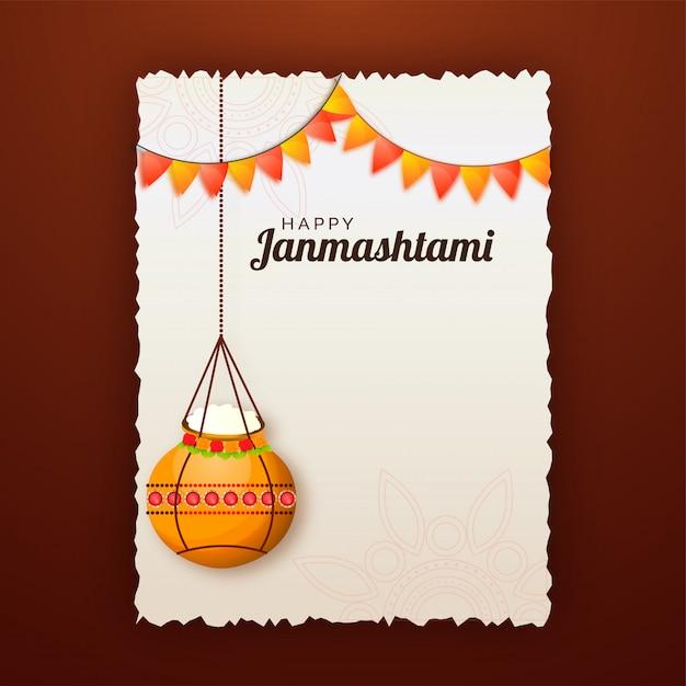 premium vector  happy janmashtami celebration greeting