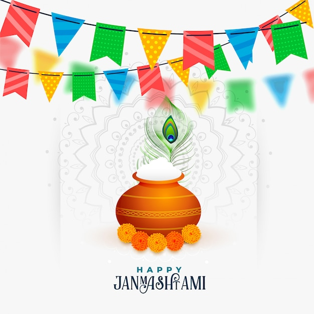 Happy janmashtami celebration of shree krishna greeting Free Vector