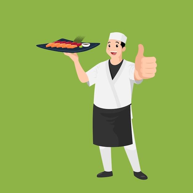 Счастливый японский шеф-повар мультяшный портрет молодого здоровенного повара в шляпе и униформе шеф-повара держит блюдо с суши Premium векторы