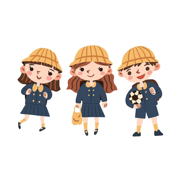 Happy japanese students wearing uniforms Free Vector