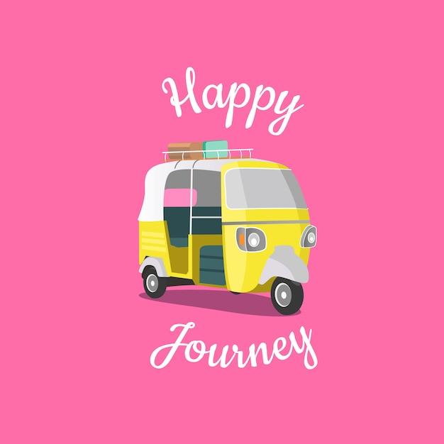 Happy journey and holidays tuk tuk poster Premium Vector