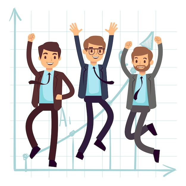 Happy jumping business man. flat success in business concept design Premium Vector
