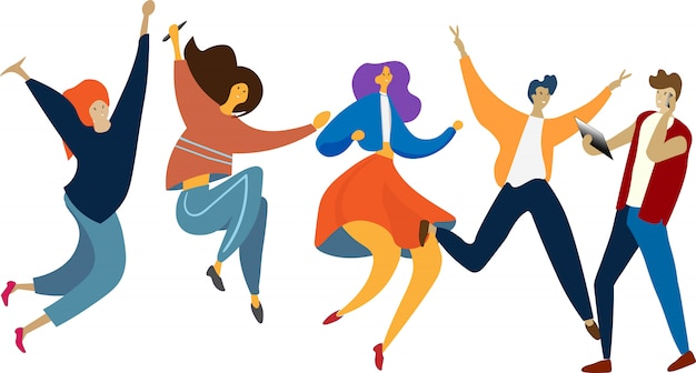 Happy jumping group of people. healthy lifestyle, friendship, success, celebrating victory concept. Premium Vector