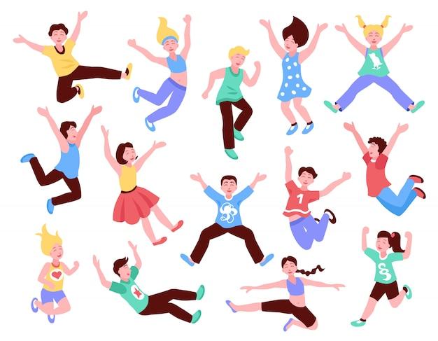 Happy jumping kids set Free Vector
