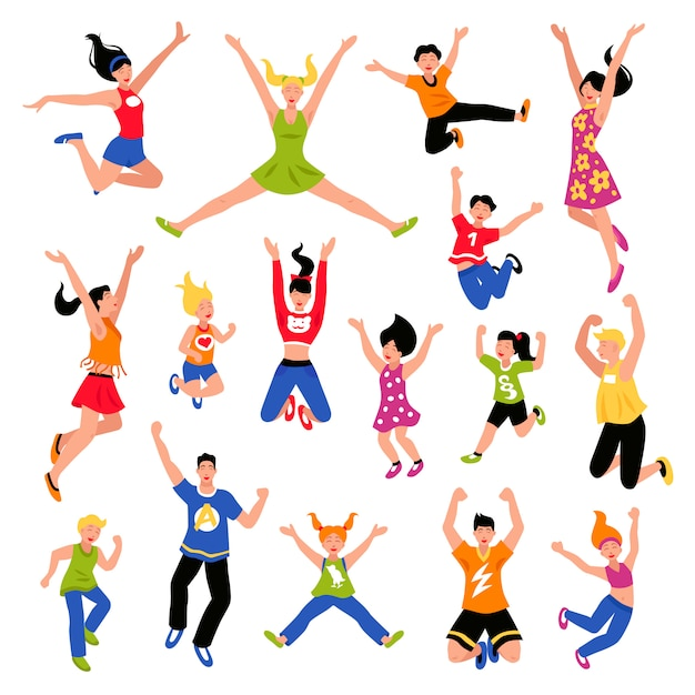 Happy jumping people isometric set Free Vector