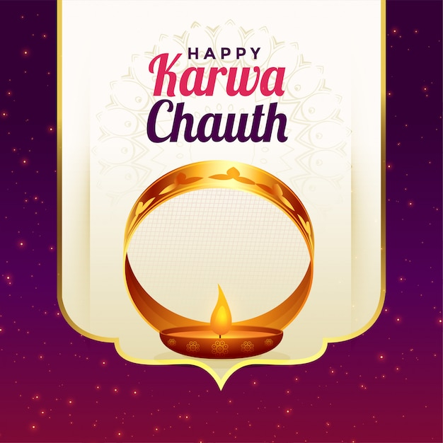 Happy karwa chauth festival card greeting celebration background Free Vector