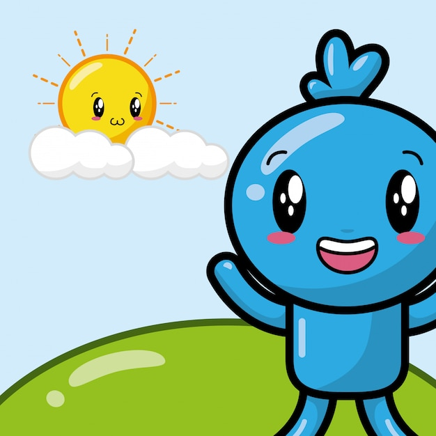 Счастливый персонаж каваи Бесплатные векторы