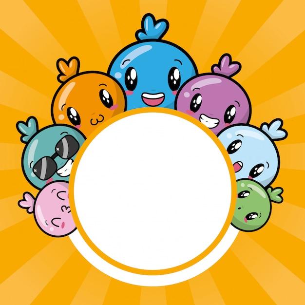 Happy kawaii characters, cartoon style Free Vector