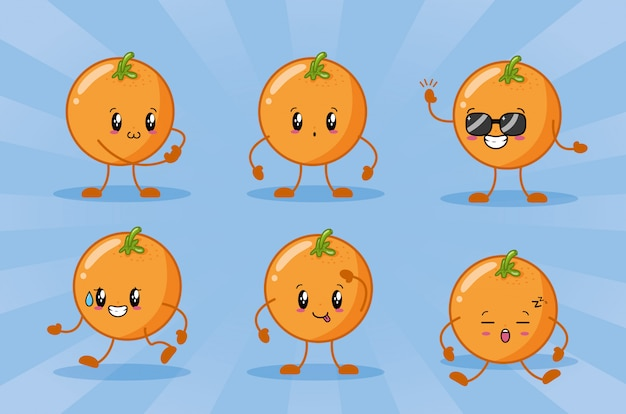 Happy kawaii oranges emojis Free Vector