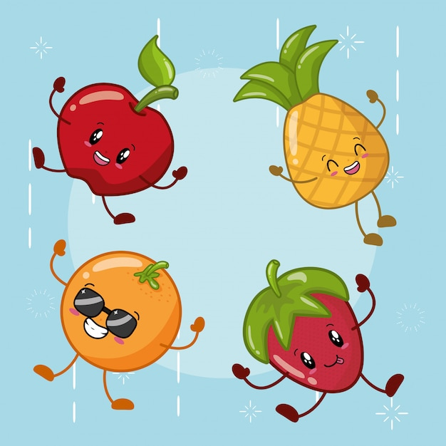 Набор happy kawaii фрукты смайлики Бесплатные векторы