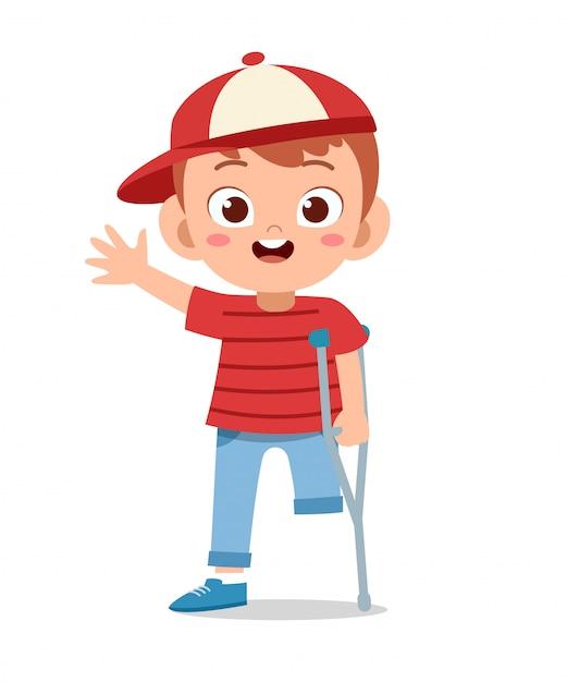 Happy kid boy handicap vector Premium Vector