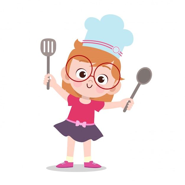 Happy kid cooking chef Premium Vector