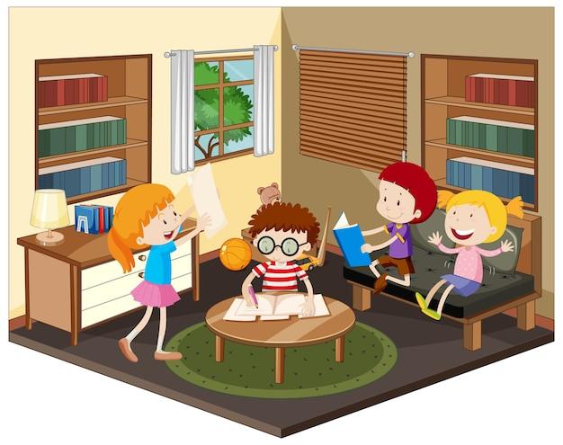Bambino felice che fa i compiti in soggiorno Vettore gratuito