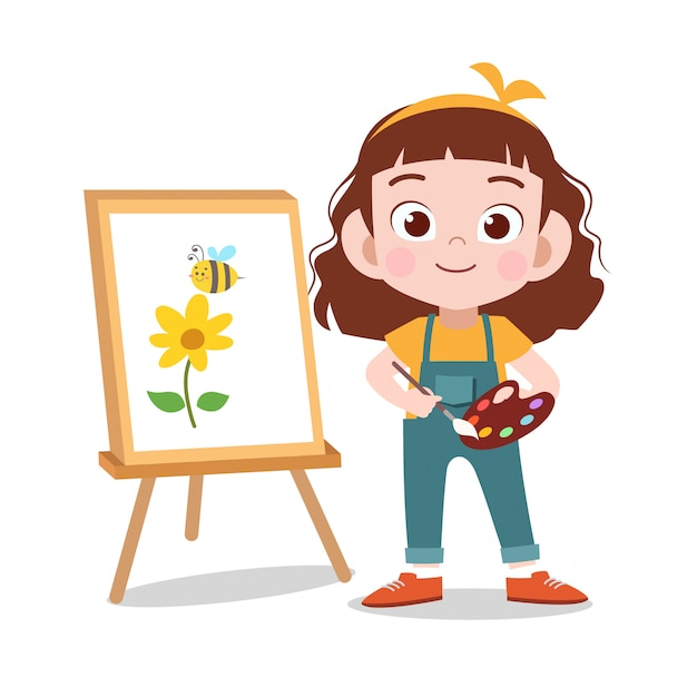 Happy kid draw flower painting Premium Vector
