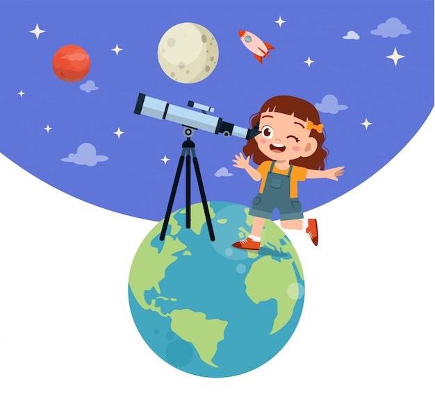 Happy kid study astronomy Premium Vector