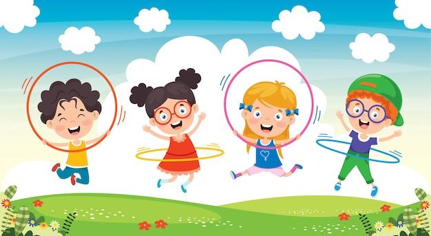 Happy kid делает гимнастические упражнения Premium векторы