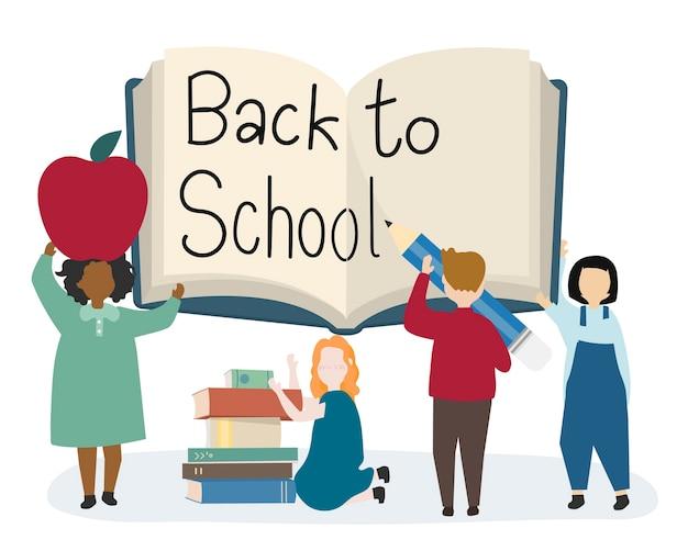 Happy kids back to school Free Vector