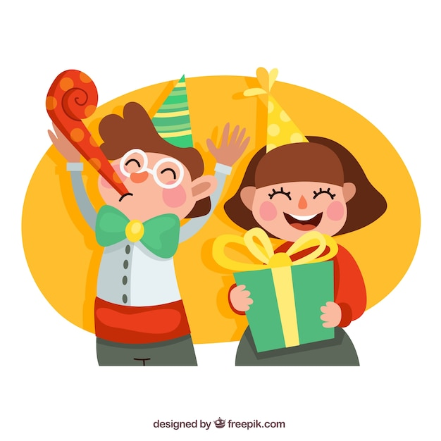 Happy kids at birthday party Free Vector