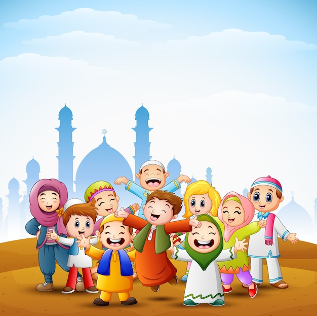 Happy kids celebrate for eid mubarak with mosque background Premium Vector