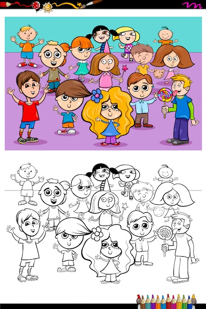 Happy kids characters group coloring book Premium Vector