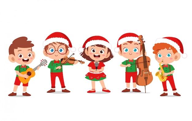 Happy kids christmas sing musical Premium Vector