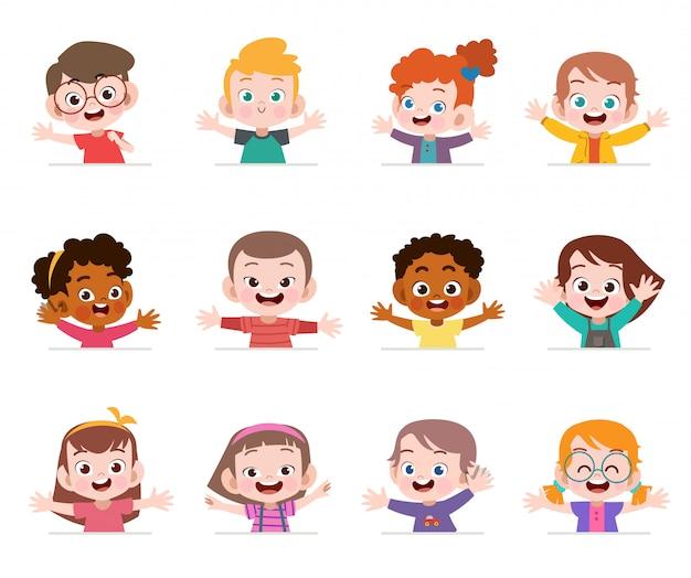 Happy kids faces Premium Vector