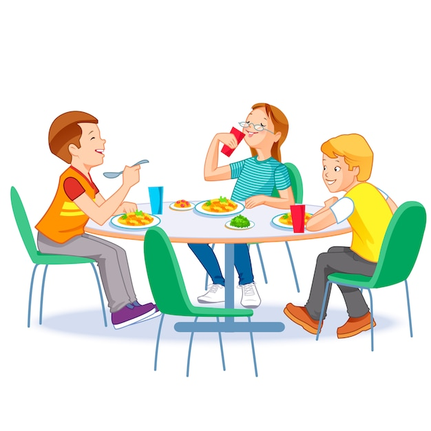 Happy kids having lunch together Premium Vector