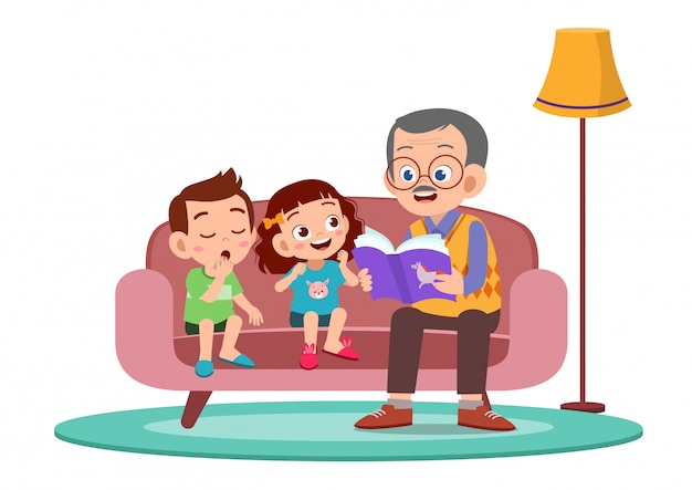 Happy kids hear story from grandfather Premium Vector