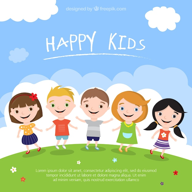 happy kids illustration free vector - Download Free Kids Cartoon