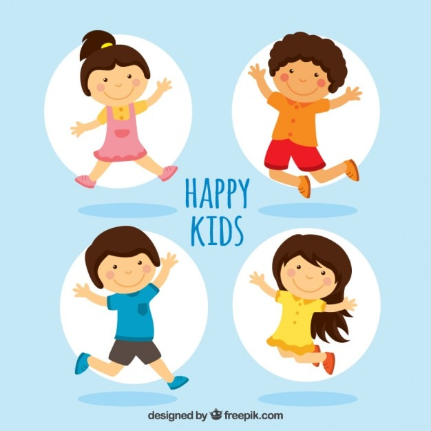 Happy Kids Illustration Vector Free Download