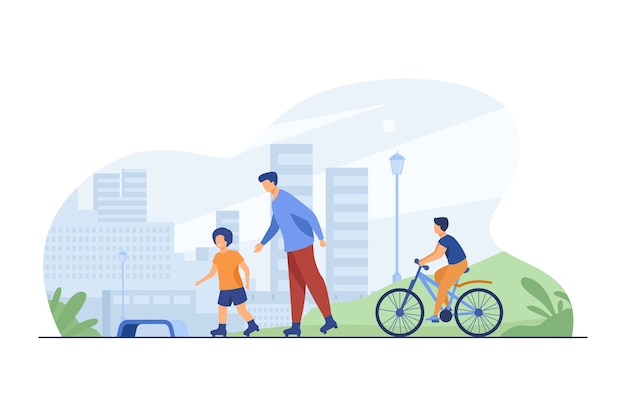 Happy kids and man rolling and cycling. roller skates, bicycle, city flat vector illustration. urban lifestyle and weekend Free Vector