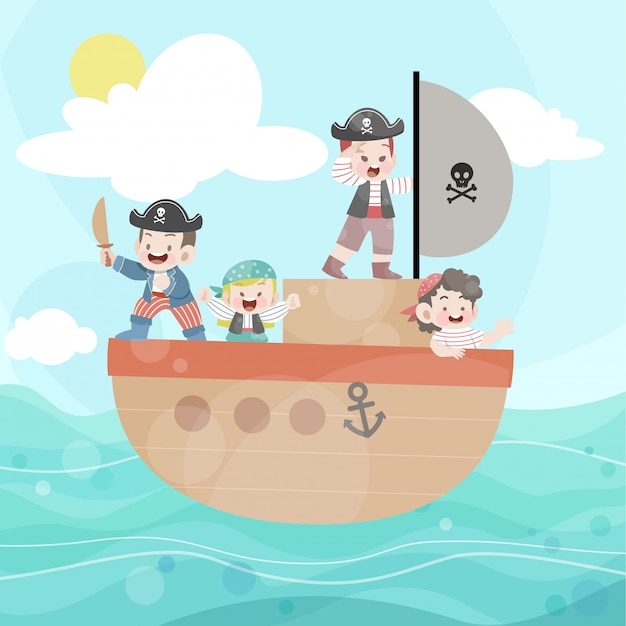 Happy kids play pirate in the ocean Premium Vector