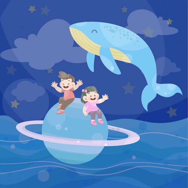 Happy kids play together in the ocean Premium Vector