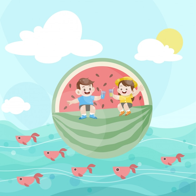 Happy kids play together in the ocean Premium Vector