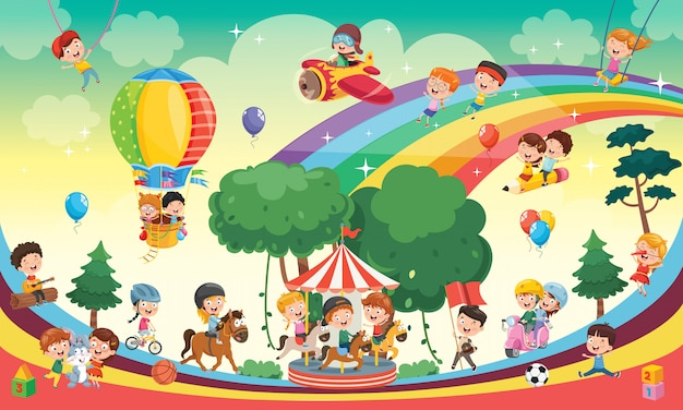 Happy kids playing landscape illustration Premium Vector