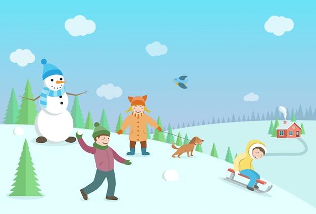 겨울 게임을하는 행복한 아이들. 숲과 언덕 겨울 풍경입니다. 플랫 스타일 일러스트 프리미엄 벡터